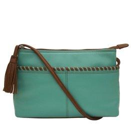 ILI New York Ili New York Whipstitch sac bandoulière turquoise & tan