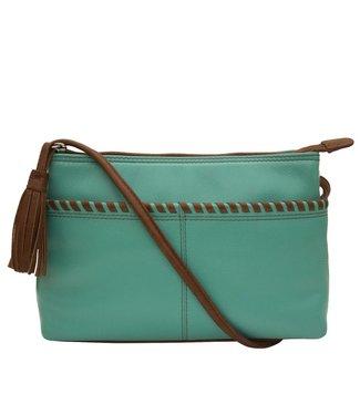 ILI New York Ili New York Whipstitch cross bag turquoise & tan