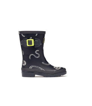 Joules Welly Print Grey Worms