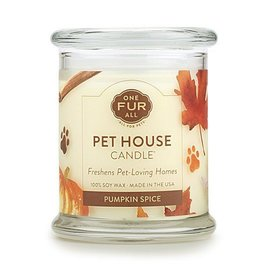 One Fur All Pet House Pumpkin Spice Natural Soy Candle 8.5oz Jar