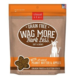Cloud Star Cloud Star Wag More Bark Less Grain-Free Soft & Chewy with Peanut Butter & Apples Dog Treats 5oz