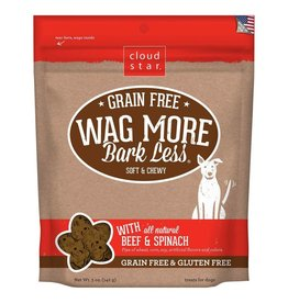 Cloud Star Cloud Star Wag More Bark Less Grain-Free Soft & Chewy with Beef & Spinach Dog Treats 5oz