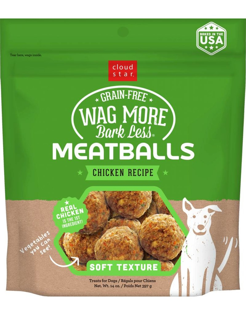 Cloud Star Cloud Star Wag More Bark Less Chicken Recipe Meatballs Dog Treats 14oz