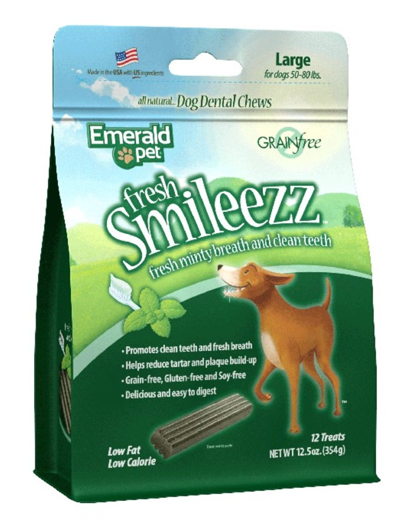 Emerald Pet Smileezz Large Dental Chews for Dogs 12.5oz