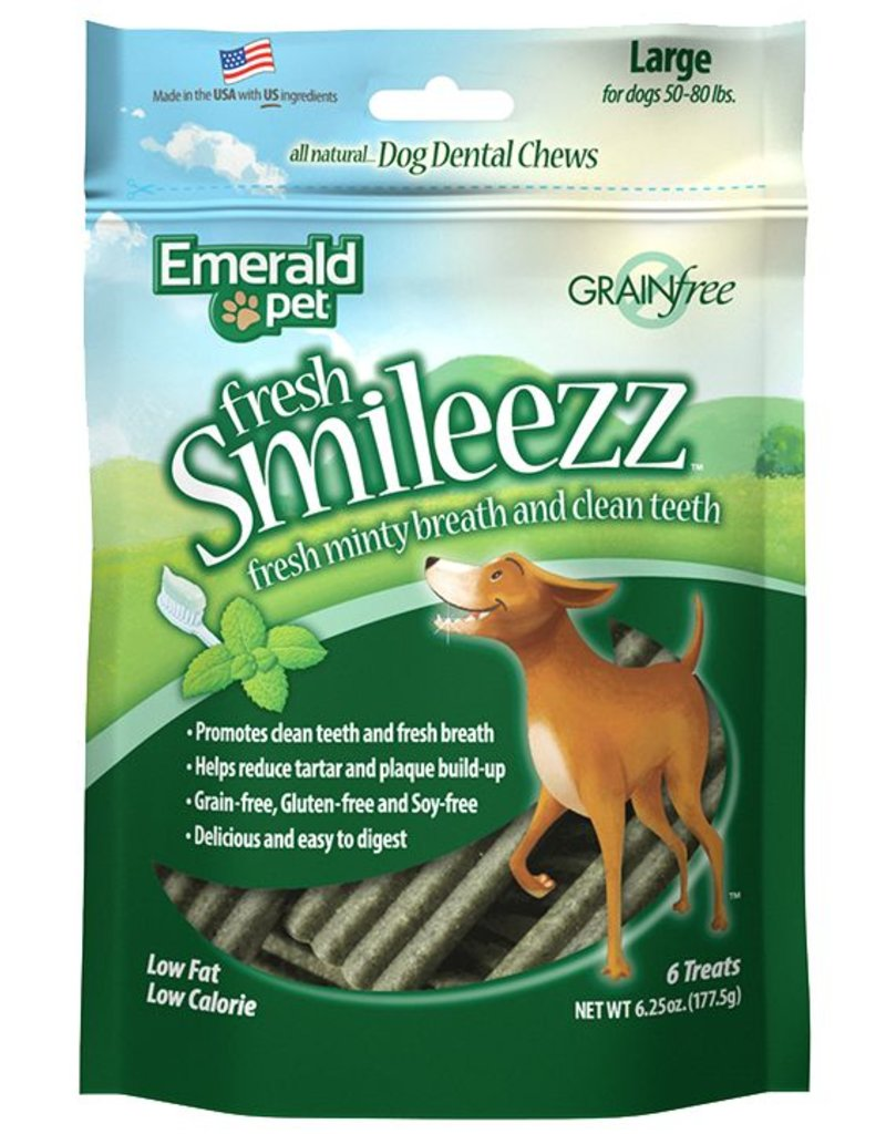 Emerald Pet Smileezz Large Dental Chews for Dogs 6oz