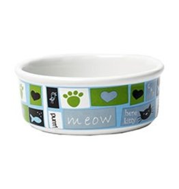 Petrageous Meow Flair Blue Cat Bowl