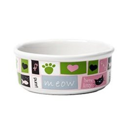 Petrageous Meow Flair Pink Cat Bowl
