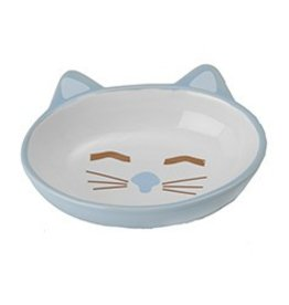 Petrageous Sleepy Kitty Oval Blue Cat Bowl