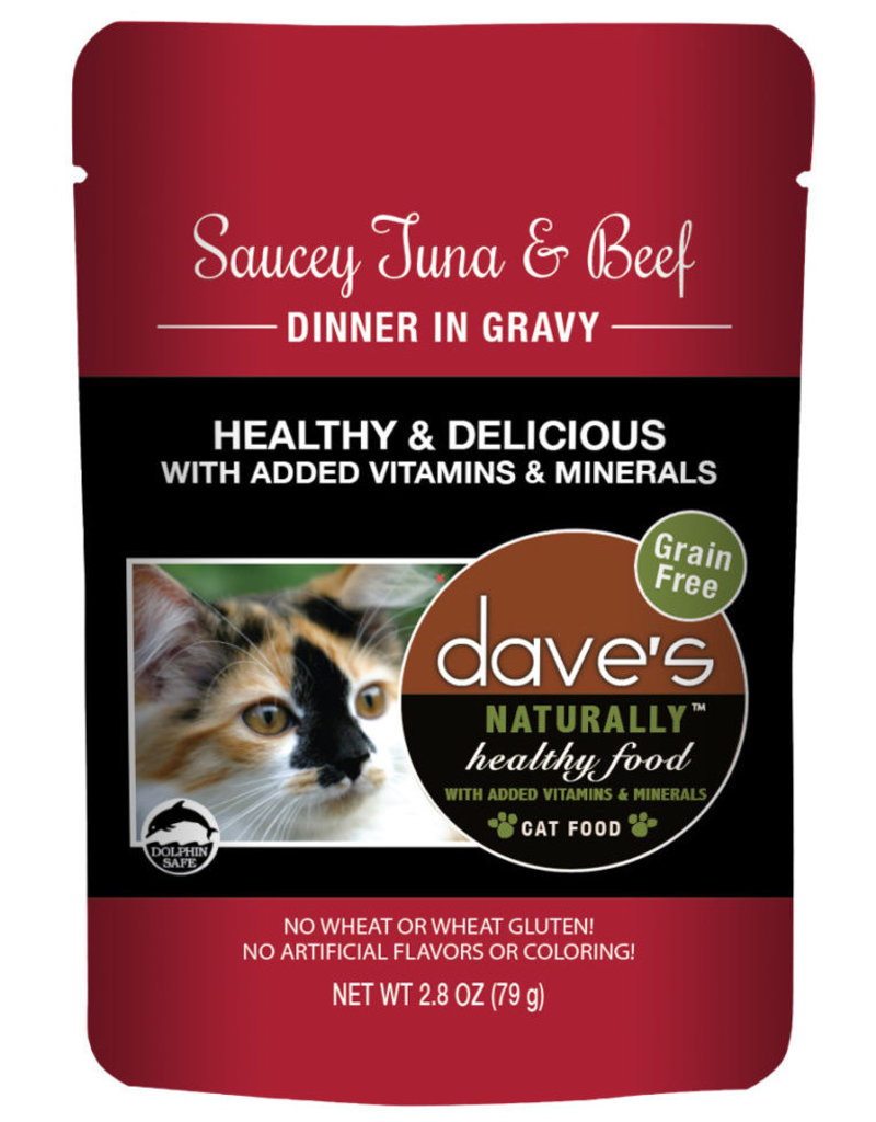 Dave's Pet Food Dave's Pet Food Naturally Healthy Tuna and Beef Dinner Wet Cat Food 2.8oz Pouch