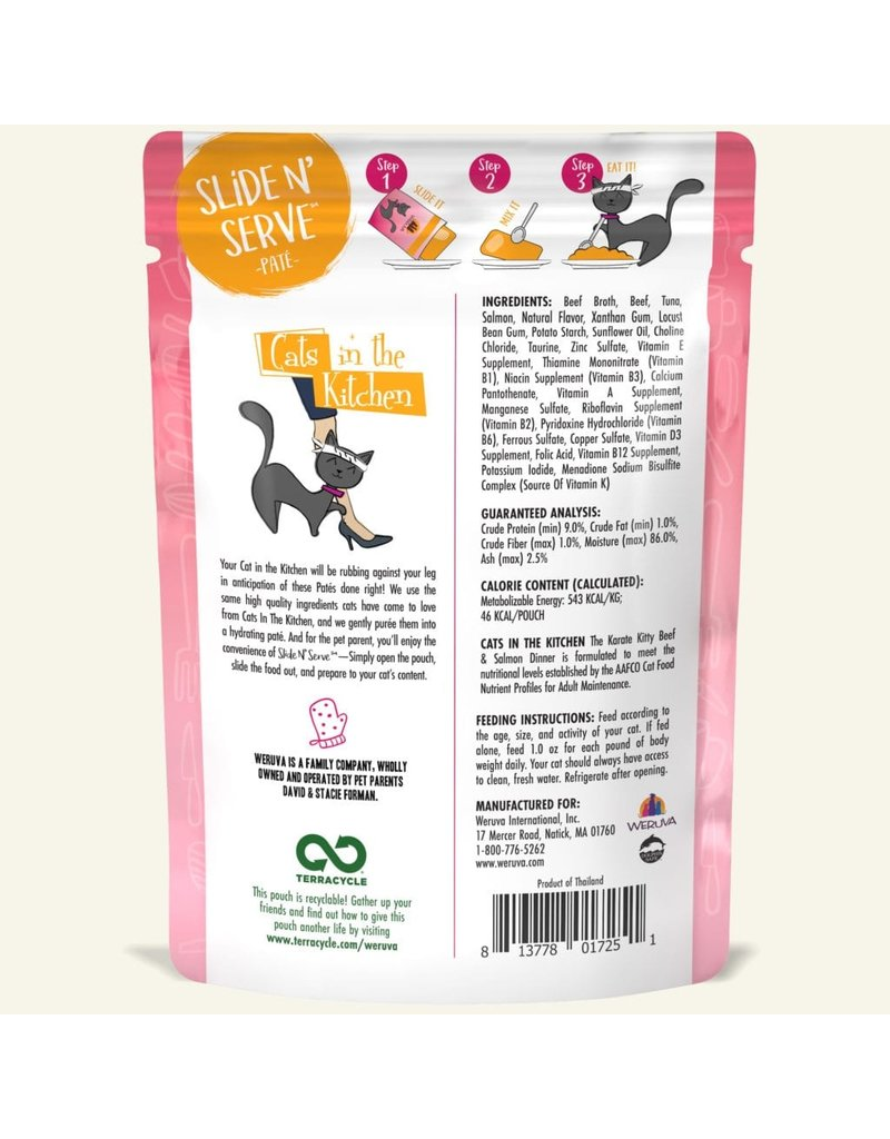 Weruva Weruva The Karate Kitty - Beef and Salmon Dinner Slide & Serve Pate Wet Cat Food 3.0oz Pouch