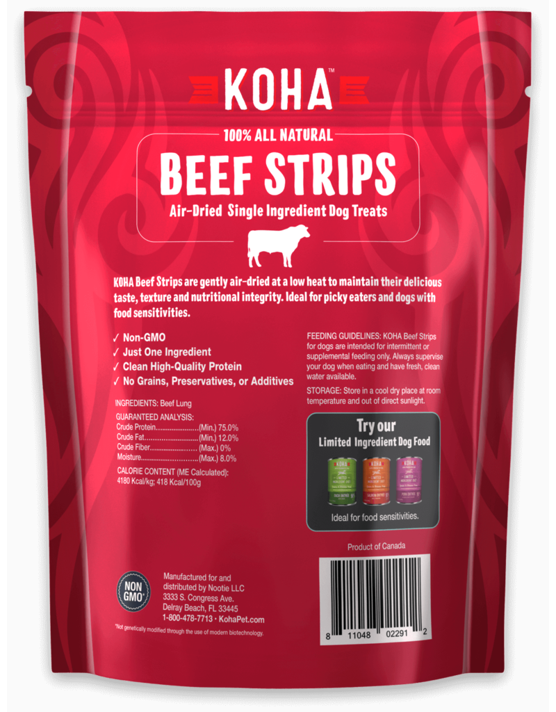 Koha Super Premium Pet Food Koha Air Dried Beef Strips Dog Treats 3.25oz