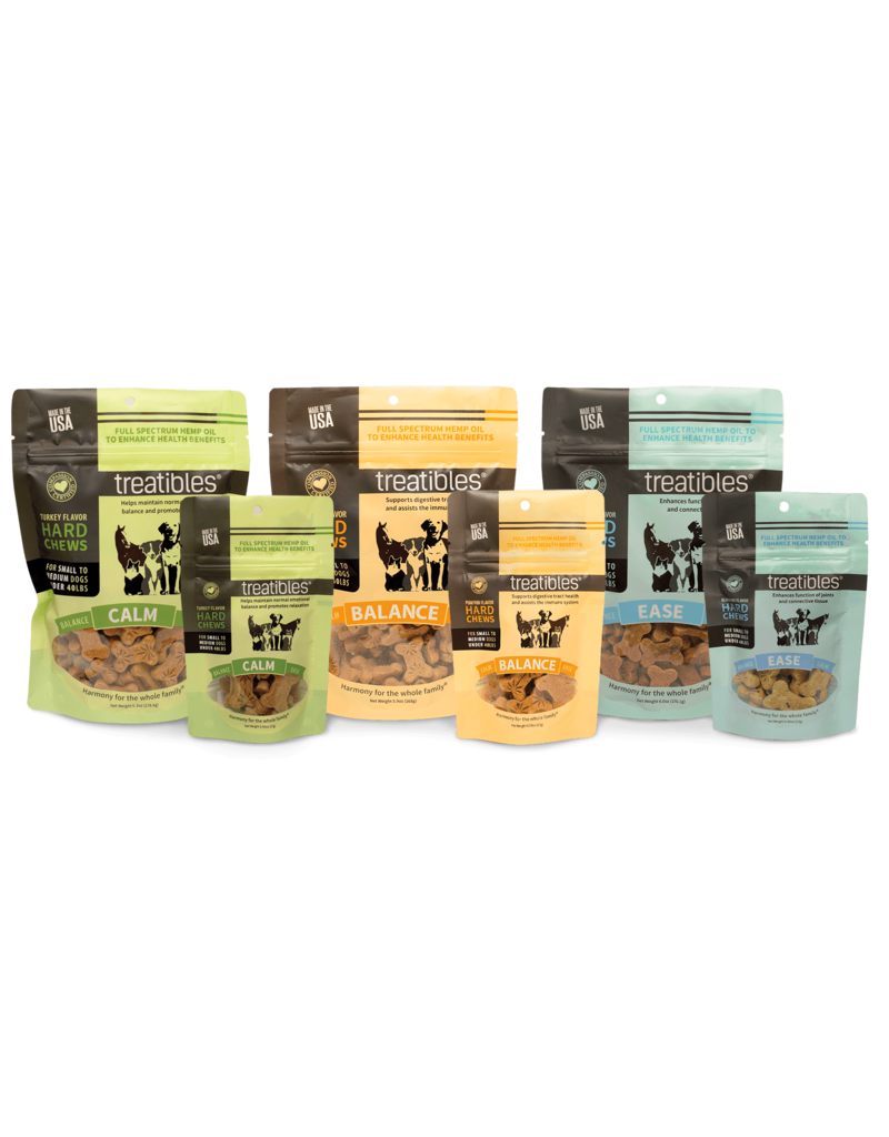Treatibles Harmony For The Whole Family Treatibles Organic Full Spectrum Hemp Oil Ease (Blueberry Flavor) Small Hard Chews Canine Trial Package