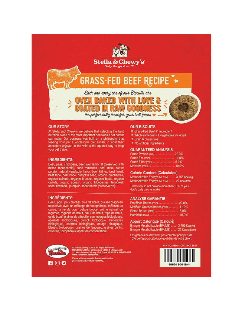 Stella & Chewy's Stella & Chewy's Grass-Fed Beef Raw Coated Biscuits Dog Treats 9oz