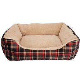 Dog It DogIt Dreamwell Cuddle Dog Bed Tartan Red Rectangle Large