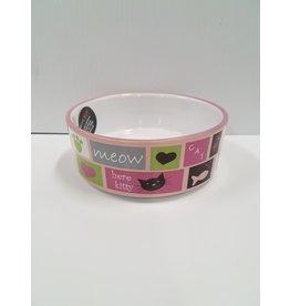 Petrageous Meow Flair Pink Cat Bowl 1each