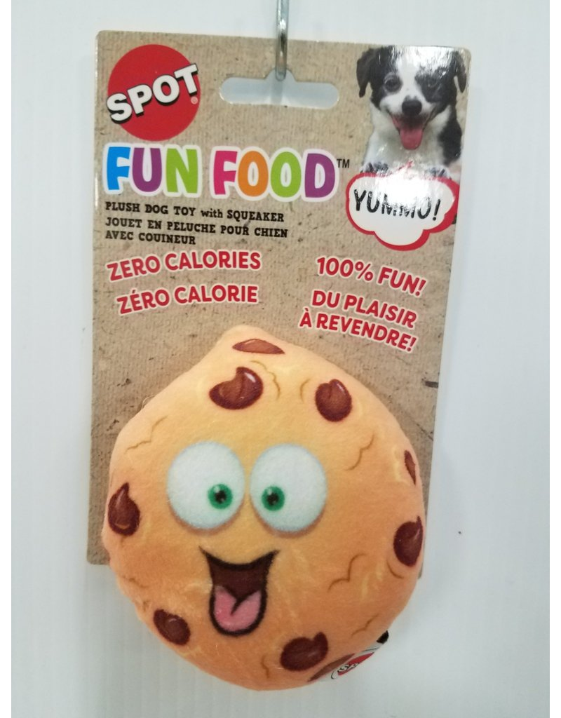"""Spot Fun Food Chocolate Chip Cookie Dog Toy 4"""""""