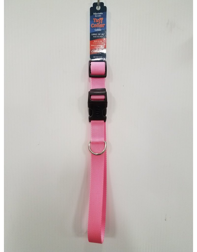 "Tuff Tuff 1"" Large Pink Dog Collar 18""-26"""