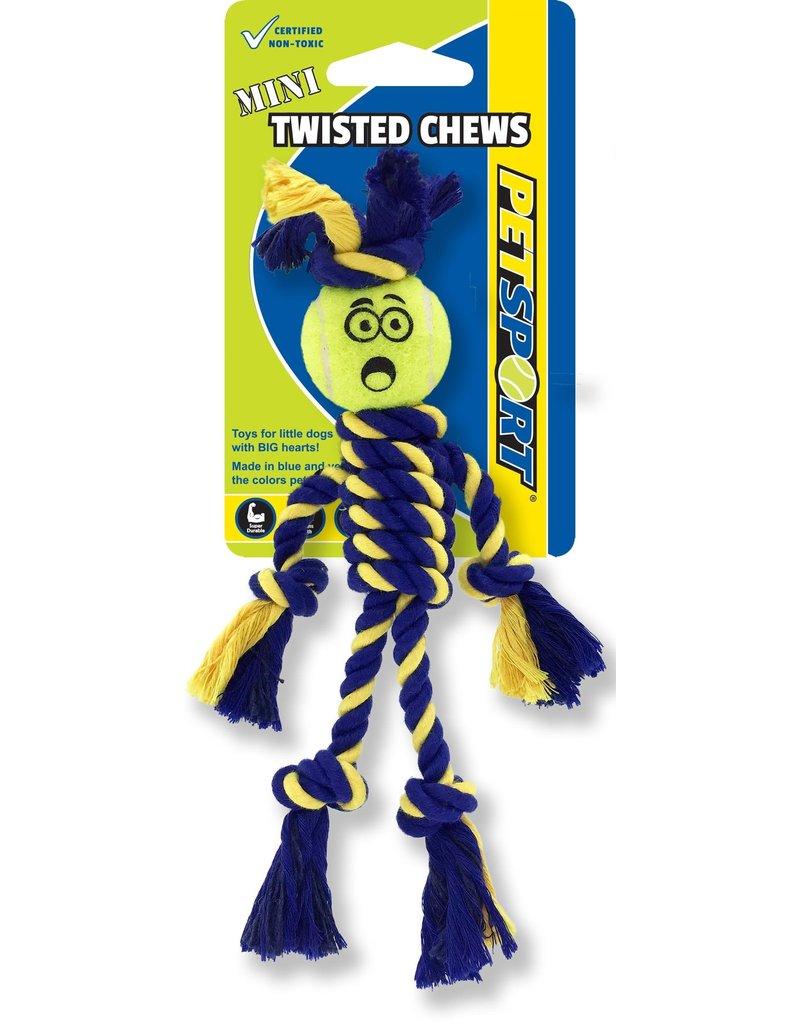 Petsport Petsport Braided Rope Rasta Man w Tennis Ball Twisted Dog Toy Mini