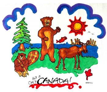 Artburn Pillowcase This is Canada! Moose, Beaver, Bear