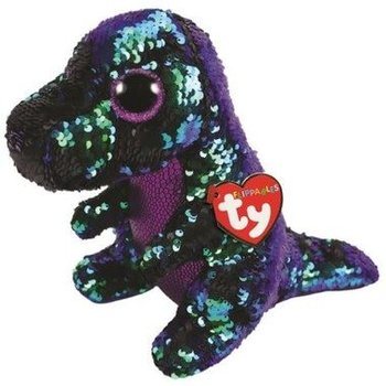 Ty Flippables Sequin Medium Crunch Green/Purple Dinosaur