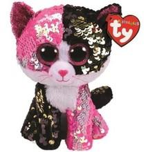 Ty Ty Flippables Sequin Medium Malibu Pink/Black Cat