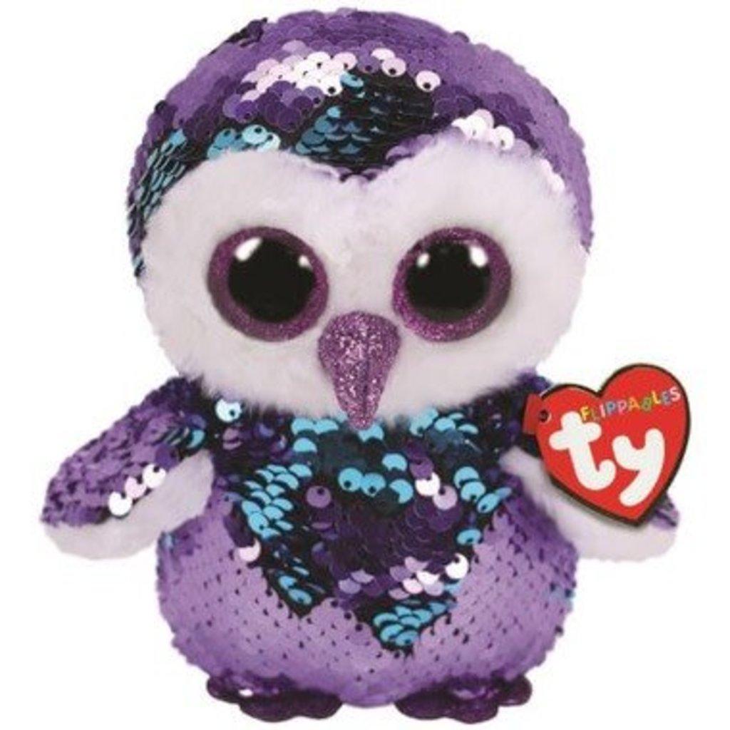 Ty Flippables Sequin Medium Moonlight Purple Owl