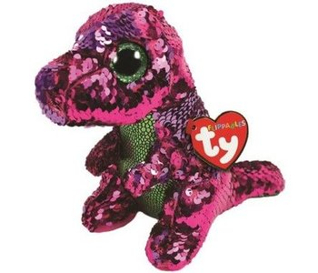 Ty Flippables Sequin Stompy Pink/Green Dino
