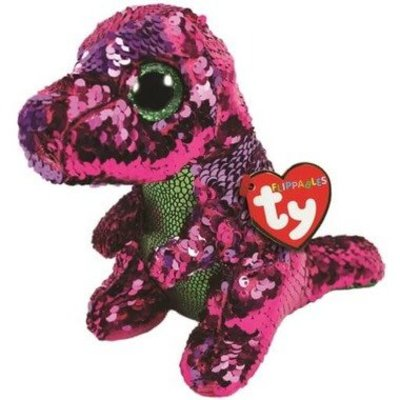 Ty Ty Flippables Sequin Stompy Pink/Green Dino