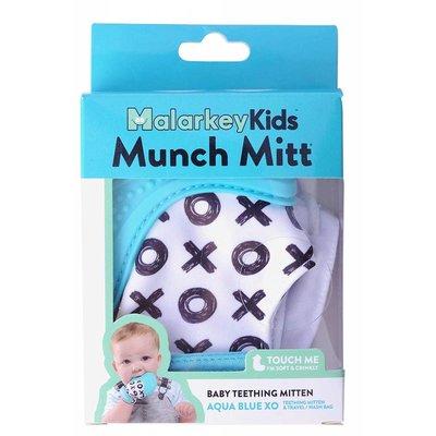 Munch Mitt Baby Teether Aqua Blue X's & O's