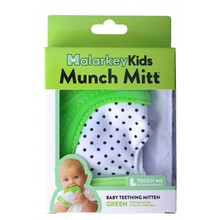 Malarkey Kids Munch Mitt Baby Teether Green Polka Dots
