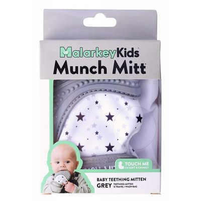 Munch Mitt Baby Teether Grey Stars