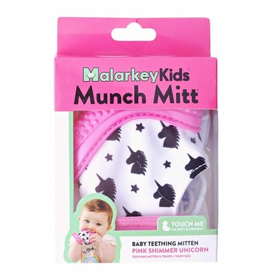 Munch Mitt Baby Teether Pink Shimmer Unicorn
