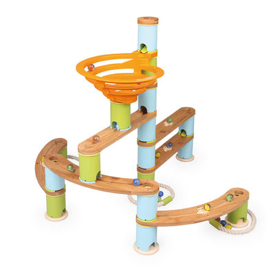 Fat Brain Toys Fat Brain Toys Bamboo Builder Marble Run 119pc Set