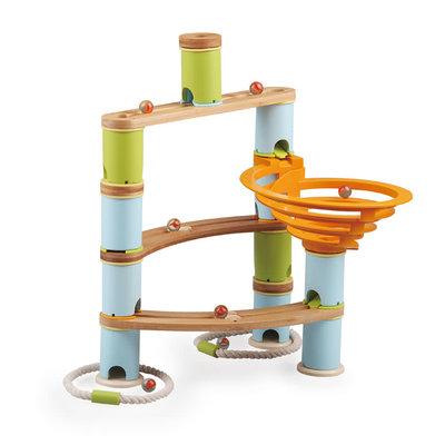 Fat Brain Toys Fat Brain Toys Bamboo Builder Marble Run 78pc Set