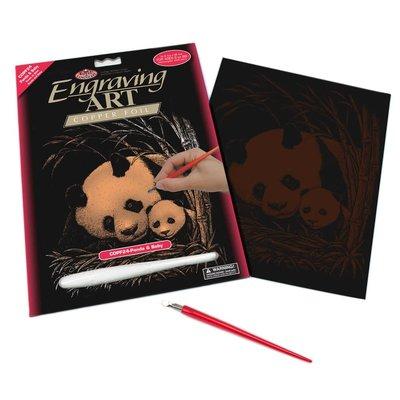 Engraving Art Copper Panda & Baby