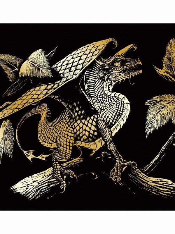 Engraving Art Gold Foil Baby Dragon