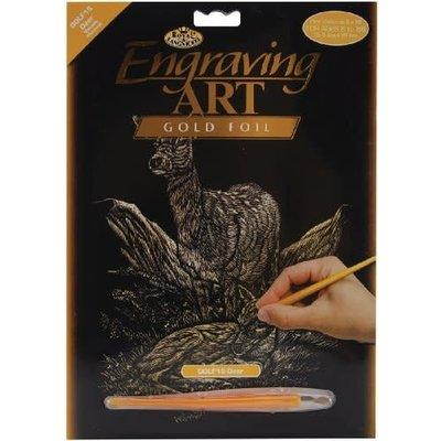 Engraving Art Gold Foil Deers