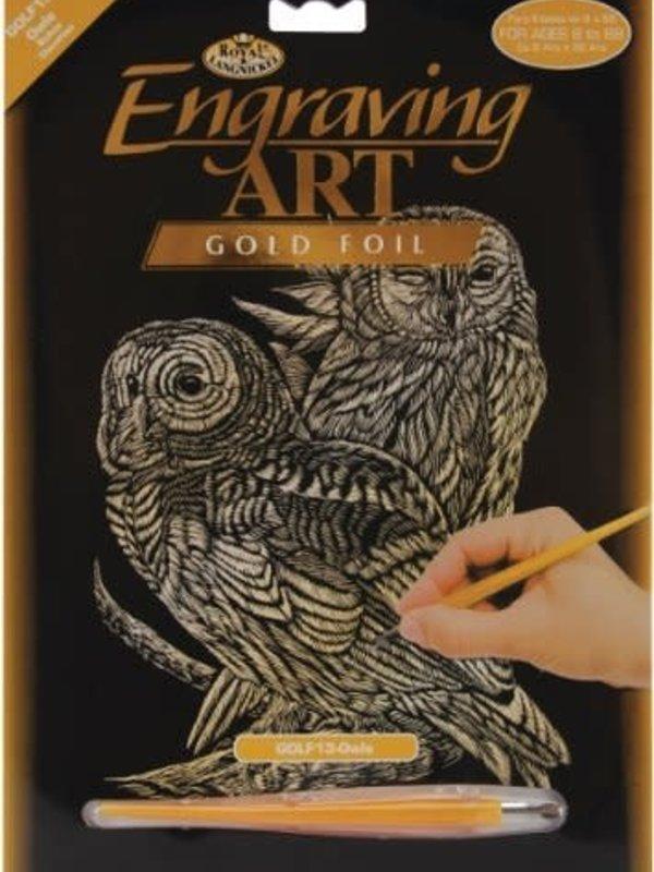Engraving Art Gold Foil Owls