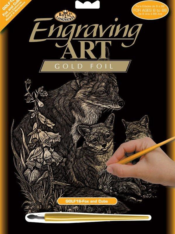 Engraving Art Gold Fox & Cubs