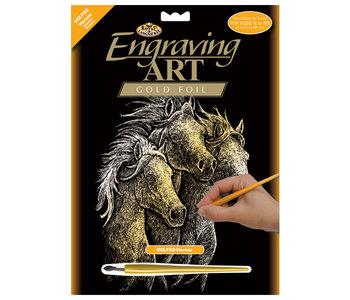 Engraving Art Gold Horses