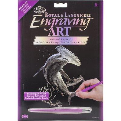 Engraving Art Holographic Hammerhead Shark