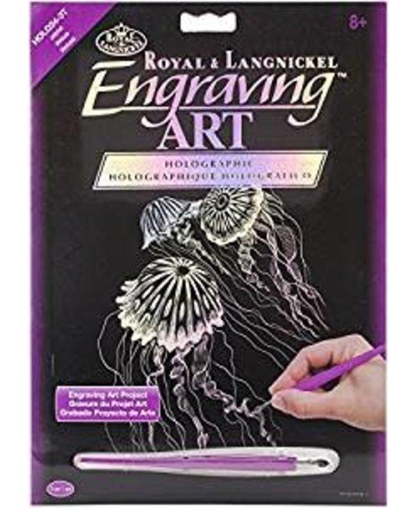 Engraving Art Holographic Jellyfish