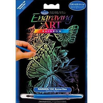 Engraving Art Rainbow Butterflies