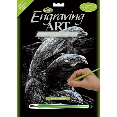 Engraving Art Silver Dolphins