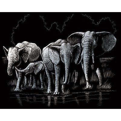 Engraving Art Silver Foil Elephant Herd