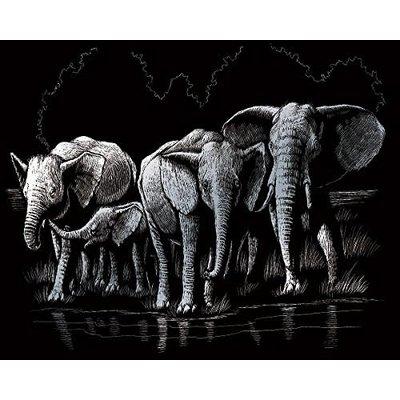 Engraving Art Silver Foil Elephant Herd