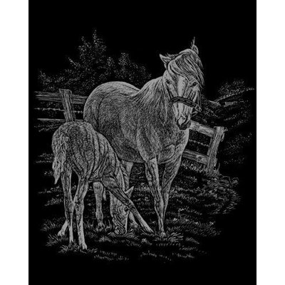 Engraving Art Silver Foil Mare & Foal