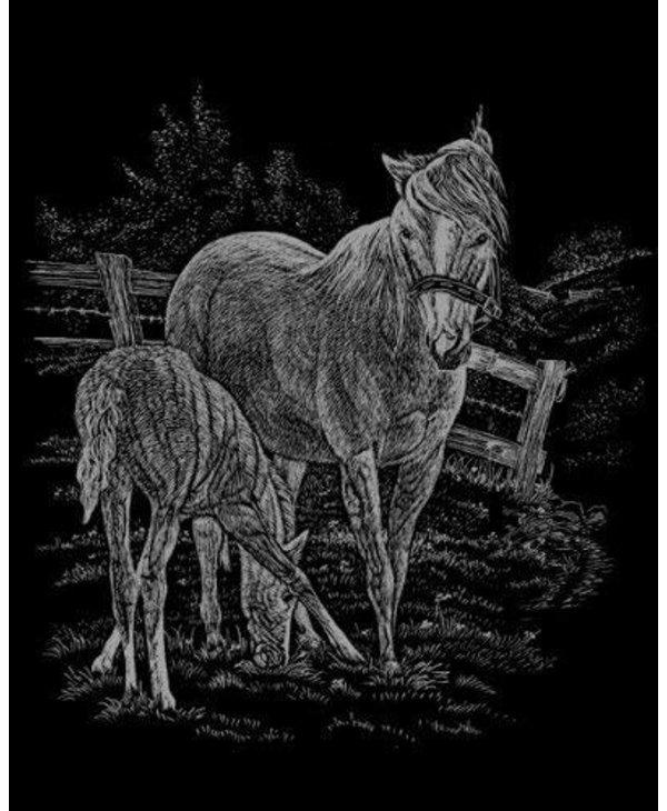 Engraving Art Silver Foil Mare & Foal