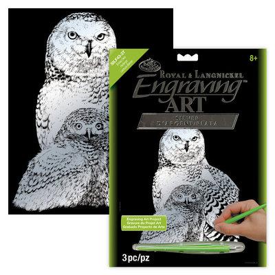 Engraving Art Silver Foil Snowy Owls