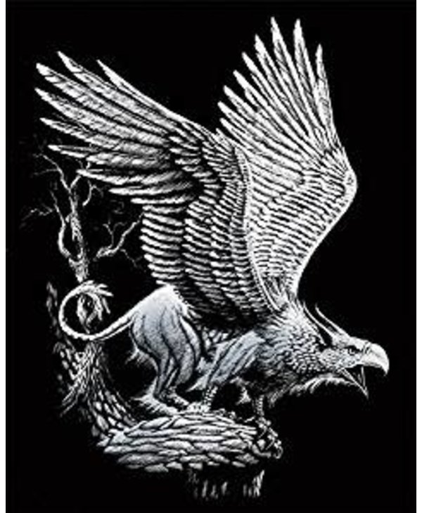 Engraving Art Silver Screaming Griffin